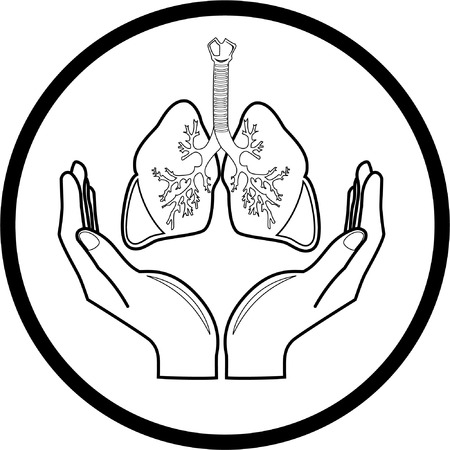 Medical icon. Protection of lungs. Black and white. Simply change. Illustration