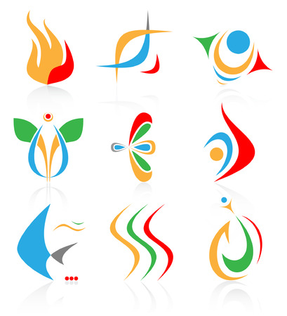 Vector abstract internet icons. Color set. Simply change. Other abstract icons you can see in my portfolio. Vector