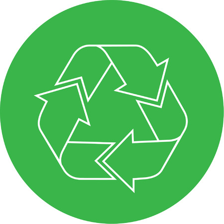 Vector recycle icon. Green and white. Simply change. Vector