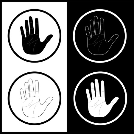 Vector hand icons. Black and white. Simply change.  Vector