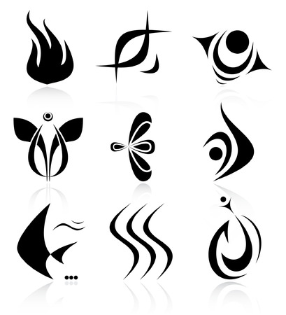 Vector abstract internet icons. Black and white. Illustration