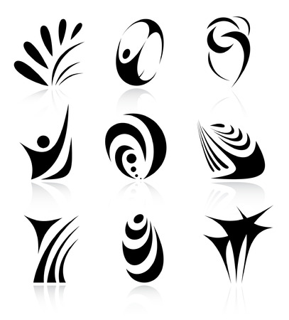 Vector abstract internet icons. Black and white