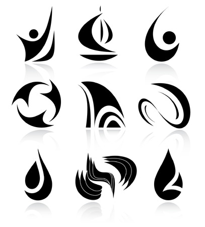 Vector abstract internet icons. Black and white.