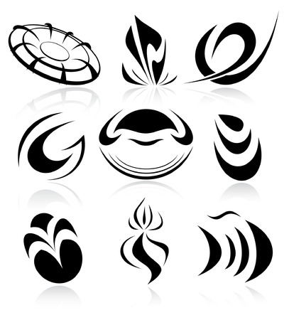 Vector abstract internet icons. Black and white.  Vector