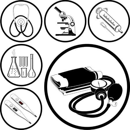 red tube: M�dico iconos. Blanco y negro. Ilustraci�n vectorial. Vectores