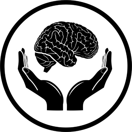 psychological: Protection of brain. Vector medical icon. Black and white. Simply change.