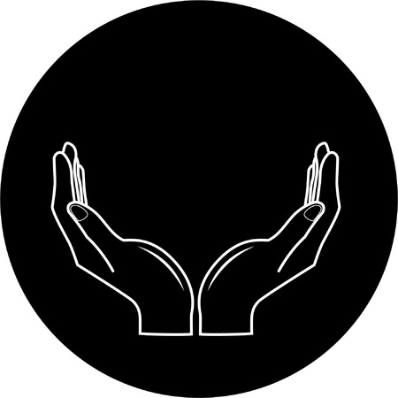Vector hands icon. Black and white. Simply change. Stock Vector - 4396699
