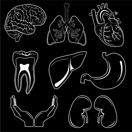 Vector medical icons. Black and white.  Illustration