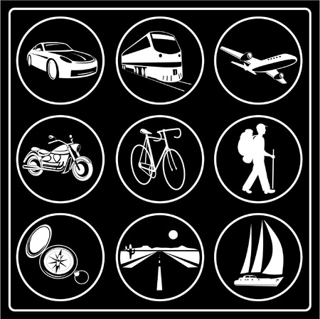 A set of travel icons. Black and white. Vector illustration. Vector
