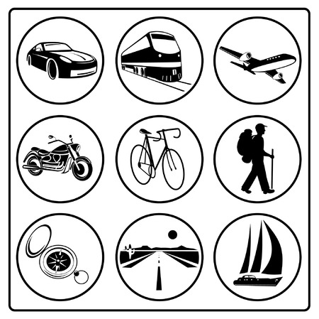 A set of travel icons. Blue and white. Simply change. Vector
