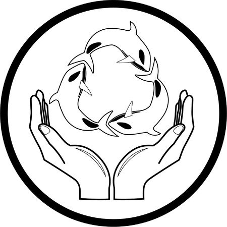 Vector killer whale and hands icon. Black and white. Simply change. Vector