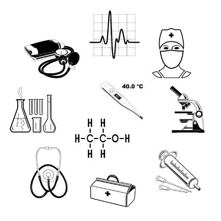 injectie: Vector medische pictogrammen. Zwart-wit. Eenvoudig wijzigen.