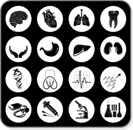iconos medicos: Vector m�dica iconos. Blanco y negro. Otros iconos m�dico puede ver en mi cartera.