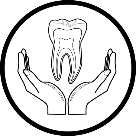 tooth root: Vector medical icon. Protection of tooth. Black and white. Simply change.