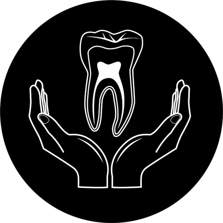 simply: Vector medical icon. Protection of tooth. Black and white. Simply change.