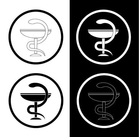 healthiness: Vector farmac�utico s�mbolos. Blanco y negro. Simplemente el cambio. Vectores