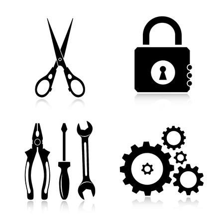 tongs: Herramientas iconos vectoriales Vectores