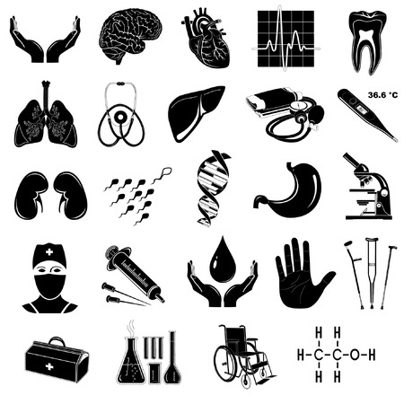 vector medical: Vector medical icons. Black and white.