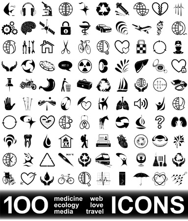 100 vector icons. HIGH RESOLUTION. Illustration