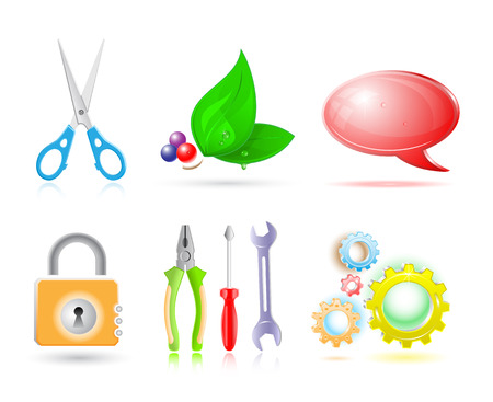 Vector 3d set of icon Vector