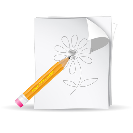 Vector 3d black pencil and paper Stock Vector - 4864326