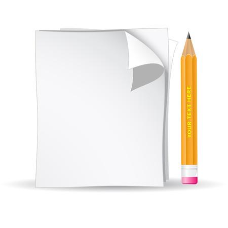 pencil paper: 3d vector negro l�piz y papel Vectores