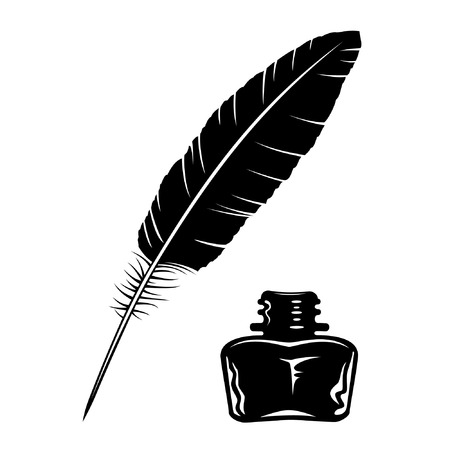Vector feather and ink bottle icon Illustration