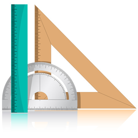 protractor: 3d vector icon of protractor and rulers