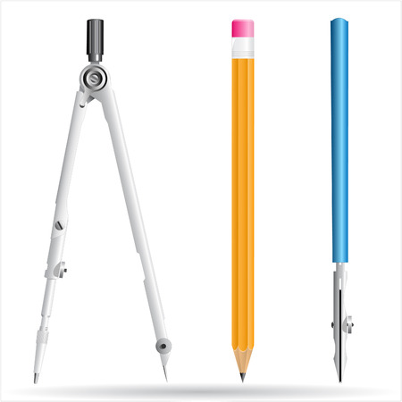 vector 3d icon of pair of compasses, pencil and drawing pen