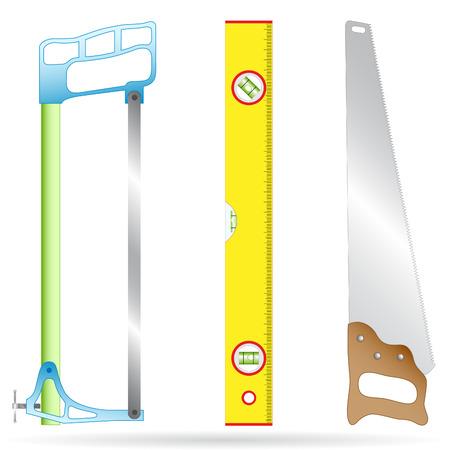 levels: Vector 3D pictogram van hacksaw, liniaal en hout werk zaag Stock Illustratie