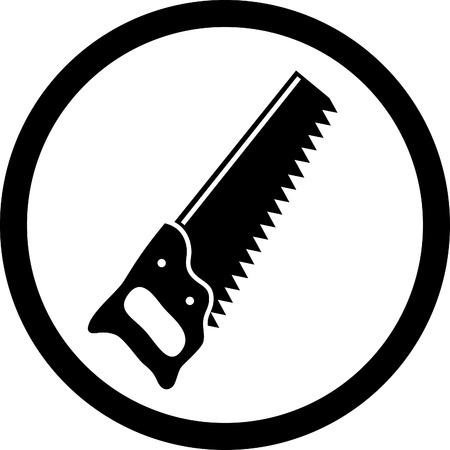 sawing: vector icon of hand saw