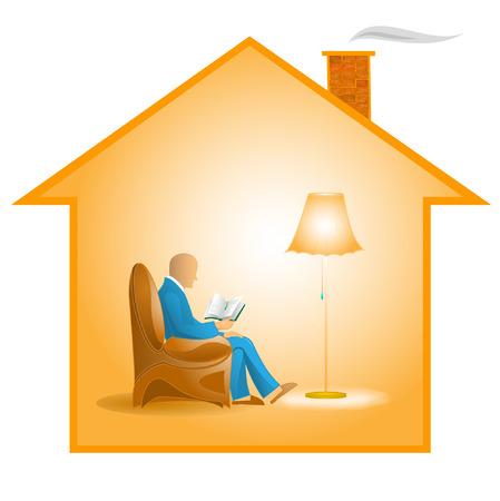 vieil homme assis: illustration vectorielle de lecture vieillard