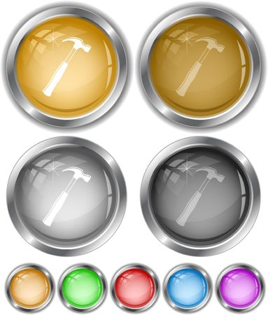 Hammer.  internet buttons. Stock Vector - 6685305