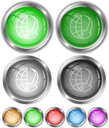 Globe and array down.  internet buttons. Vector