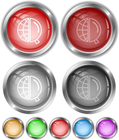 Globe and magnifying glass.  internet buttons. Stock Vector - 6685329