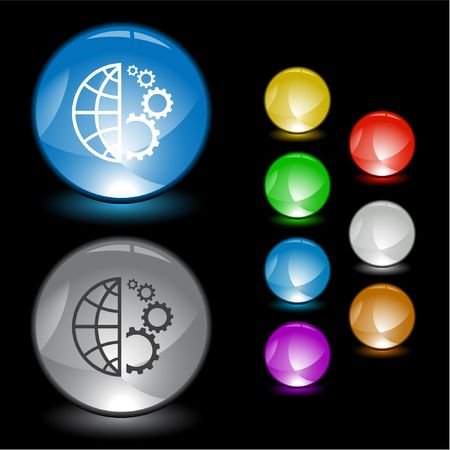 Globe and gear.  interface element. Vector
