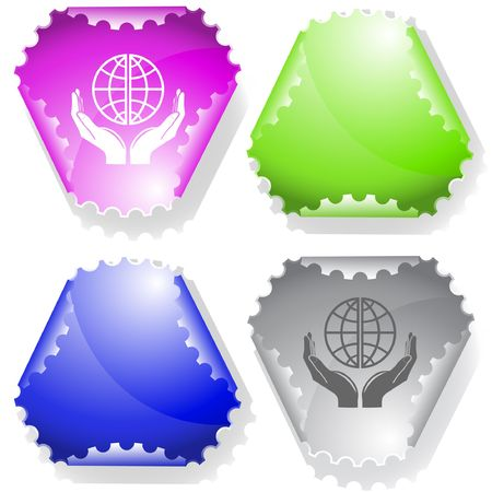 hamous: Protection world. Vector sticker.