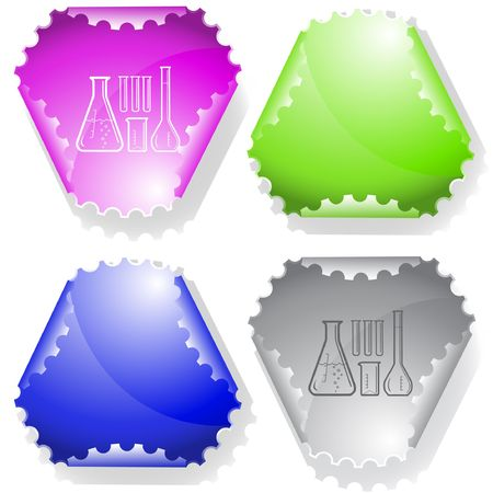 declinate: Chemical test tubes. Vector sticker.