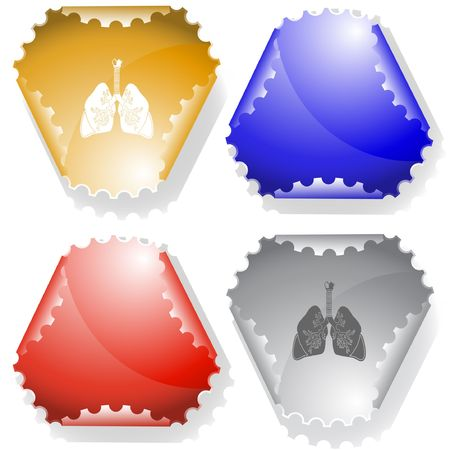 Lungs. Vector sticker. Stock Vector - 6696014