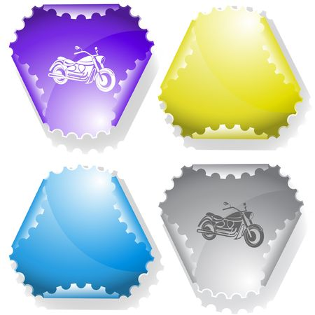 Motorcycle. Vector sticker. Illustration