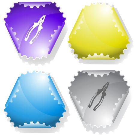 Combination pliers. sticker. Stock Vector - 6695868