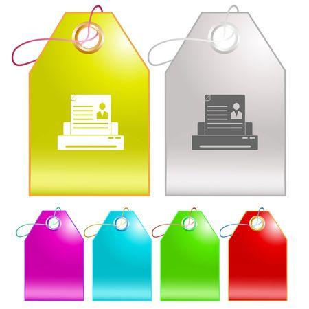 Printer.  tags. Stock Vector - 6731601