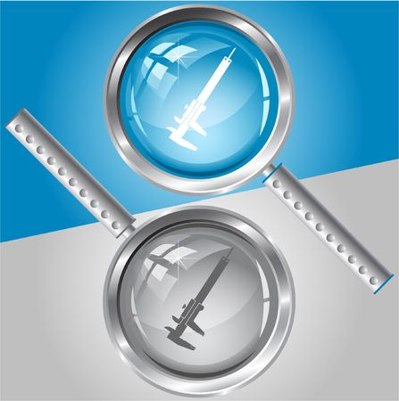 caliper: Caliper.  magnifying glass. Illustration