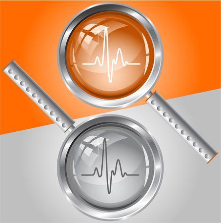 medical study: Cardiogram. lente di ingrandimento.