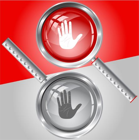 Stop hand.  magnifying glass. Stock Vector - 6732072