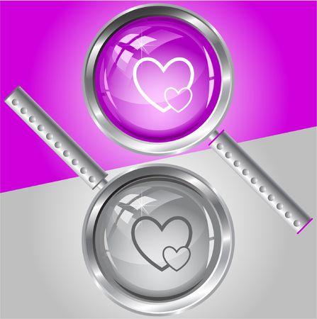 careful: Careful heart. magnifying glass.