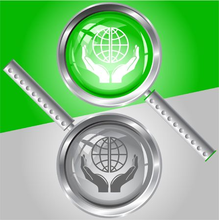 Protection world. magnifying glass. Stock Vector - 6732151