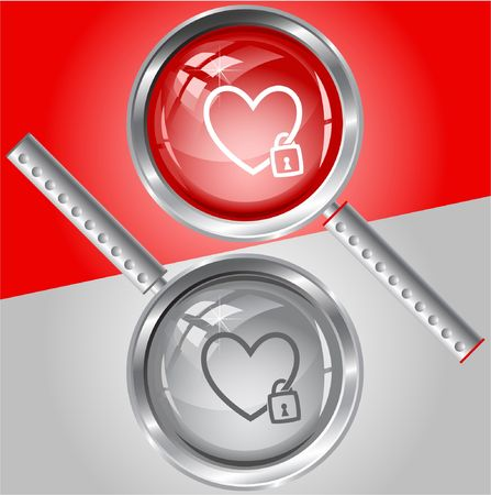 Closed heart. magnifying glass. Stock Vector - 6732008