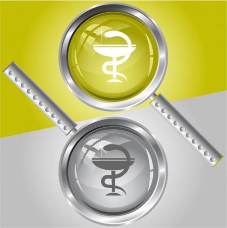 Pharma symbol.  magnifying glass. Stock Vector - 6731811