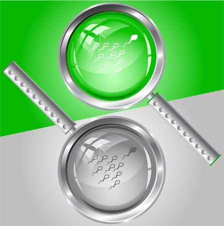Spermatozoon.  magnifying glass. Stock Vector - 6732069